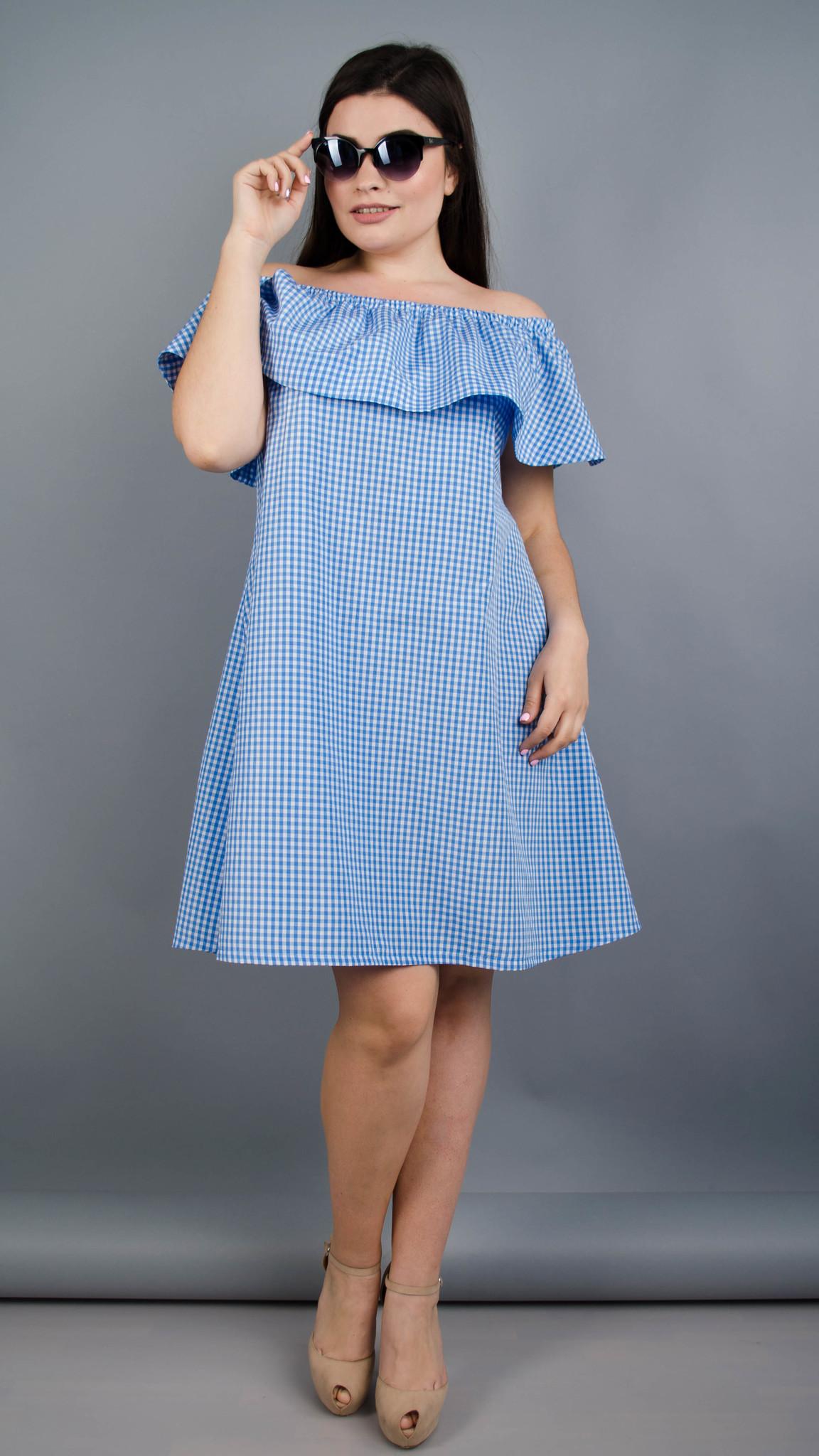 Балі. Літнє плаття плюс сайз. Блакитна клітинка.