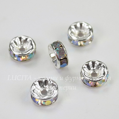 Бусина - рондель 8х4 мм с фианитами с AB-покрытием (цвет - серебро), 5 штук