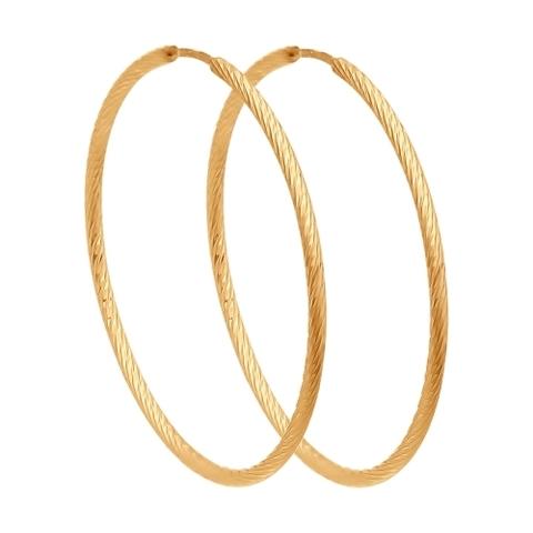 Серьги конго из золота с алмазной гранью Ø  25 мм арт.140138