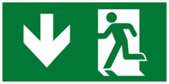 Выход здесь левосторонний - современный эвакуационный знак