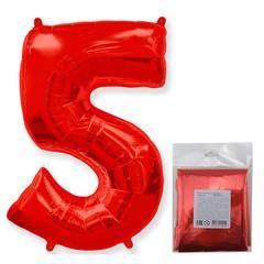 F Цифра, 5 Красный, 40''/102 см, 1 шт. в упаковке