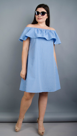 Бали. Летнее платье плюс сайз. Голубая клетка.