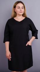 Виктория. Практичное платье больших размеров на каждый день. Черный.