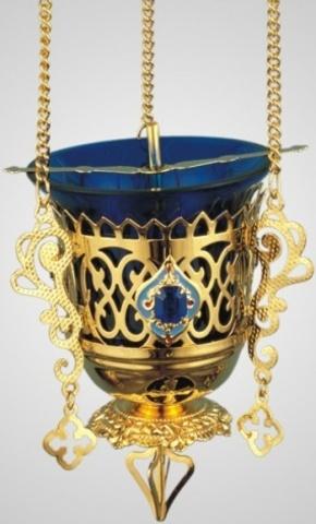 Лампада подвесная с украшением эмалью
