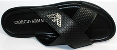 Кожаные мужские шлепанцы Giorgio Armani 101 01Black.