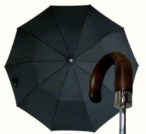 Купить онлайн Зонт складной Guy de Jean 7036-strip Poignee Bois в магазине Зонтофф.