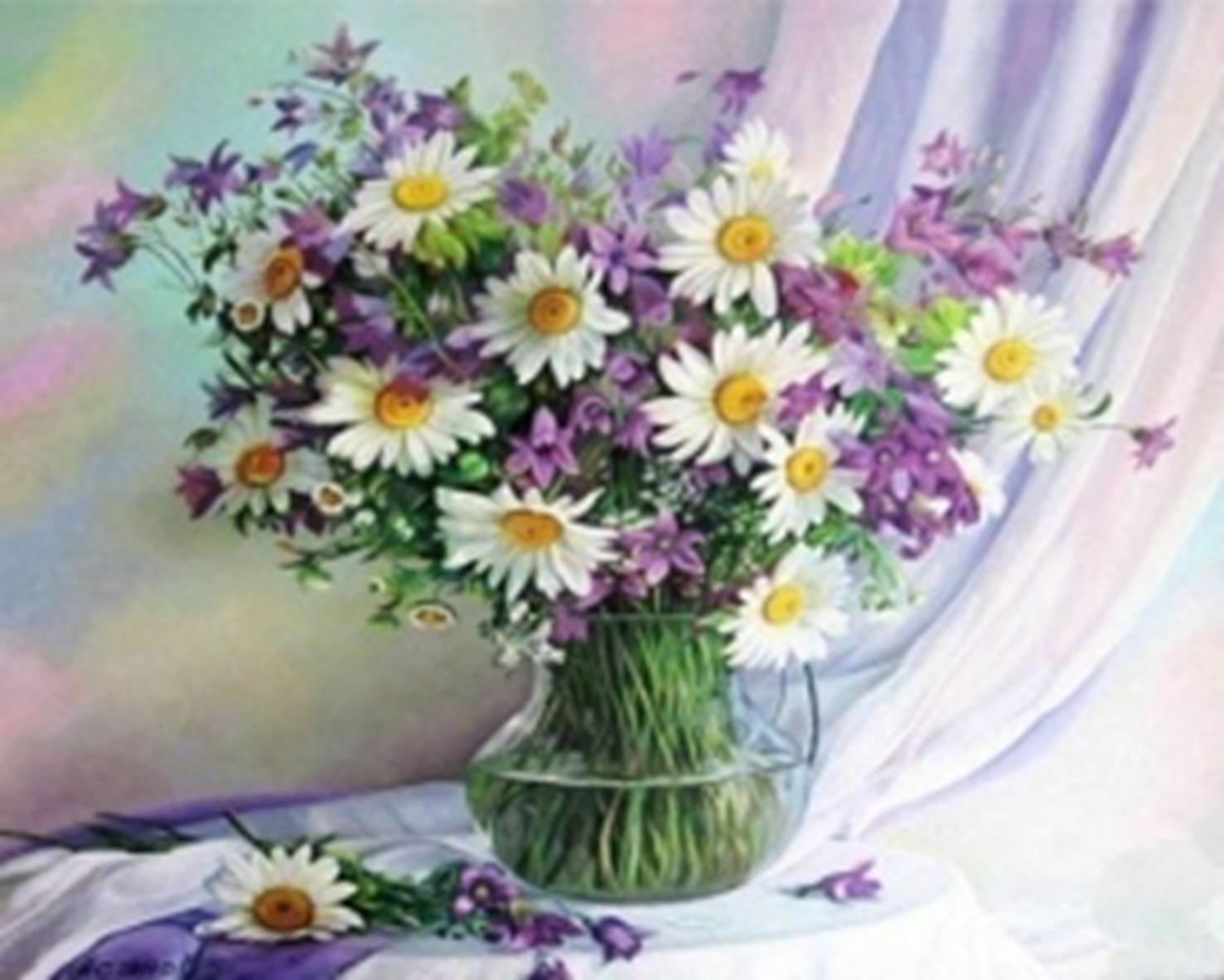 Картина раскраска по номерам 30x40 Полевые цветы в ...