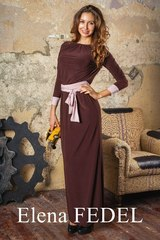 Платье F77-02 длинное масло шоколад