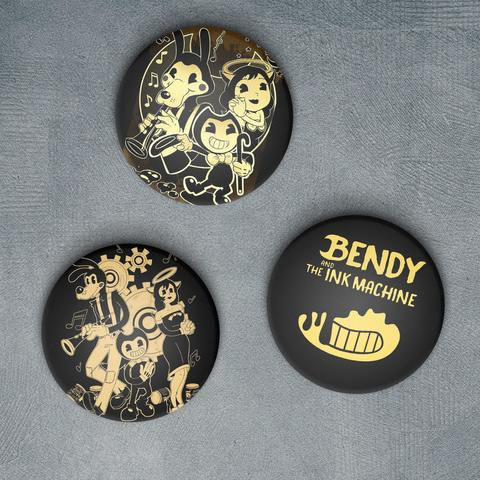 Набор из трёх значков с Бенди, Алисой и Борисом