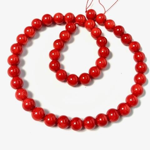 Бусины коралл красный шар 8,5 мм 22 бусины