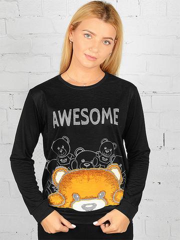 K031-3 футболка женская дл. рукав, черная