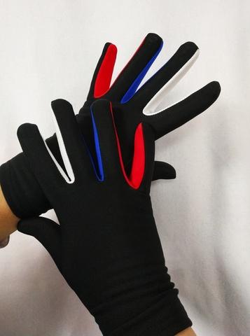 Перчатки из термоткани ( белая, синяя, красная вставка)