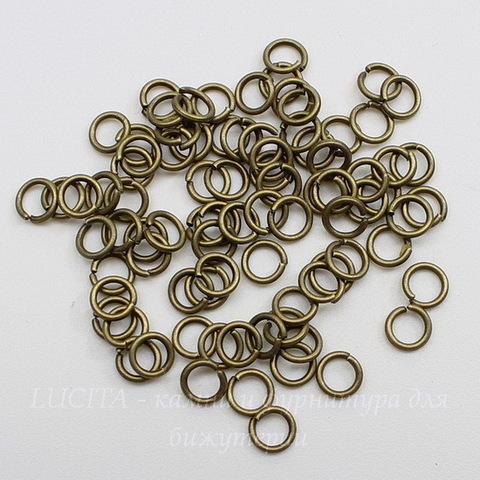 Комплект колечек одинарных 5х0,8 (цвет - античная бронза), 10 гр (примерно 220 шт)