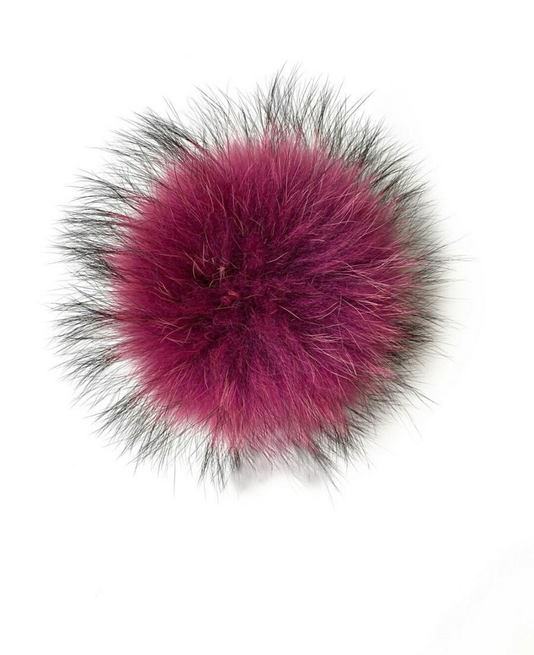 Помпон на кнопке из натурального меха енот 15-18см. Темно-розовый.
