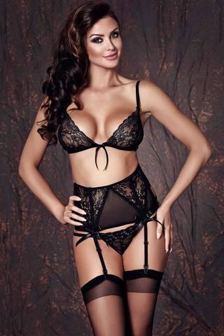 Элегантный черный красивый сексуальный европейский кружевной эротический комплект белья Anais