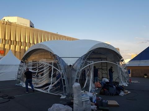 Стенка для шатра раздвижная прозрачная с полумесяцем 8х8