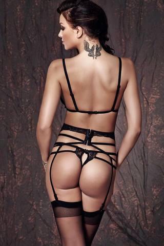 Элегантный черный красивый сексуальный европейский кружевной эротический комплект белья Anais вид сзади