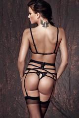 Элегантный эротический комплект кружевного черного белья