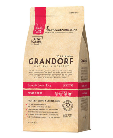 Grandorf Cat Indoor сухой корм для кошек (ягненок с рисом) 2 кг