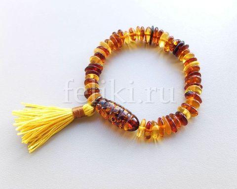 браслет из разноцветного янтаря в стиле бохо