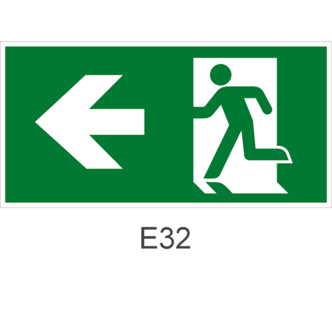 Направления движения к эвакуационному выходу налево – эвакуационный знак E32