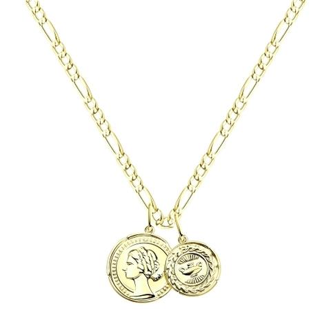 93070044 - Колье из серебра c лимонной позолотой с подвесками монетками