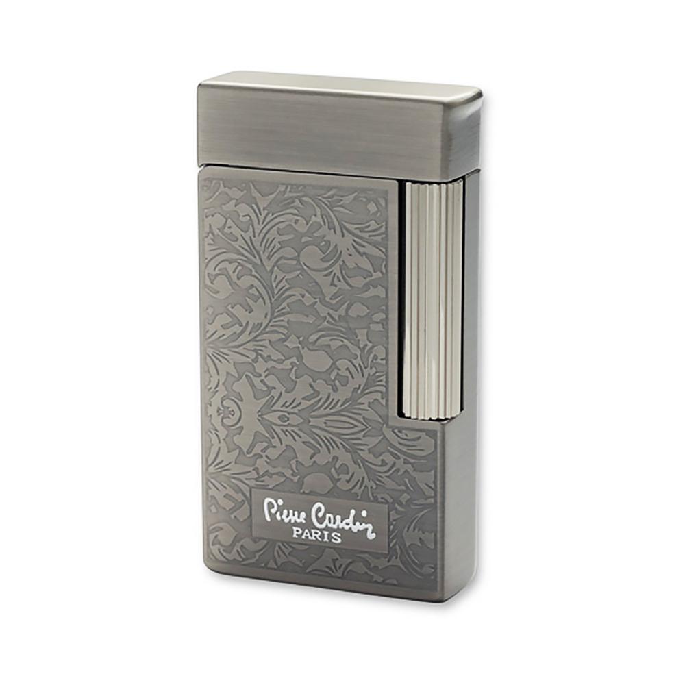 Зажигалка Pierre Cardin кремниевая газовая, цвет темный хром с гравировкой, 3,4х1,2х6,4см