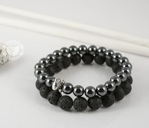 BS563 Комплект мужских браслетов ручной работы из гематита и лавы.