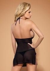 Сорочка черная с кружевными вставками на груди Bisquitta (Obsessive)