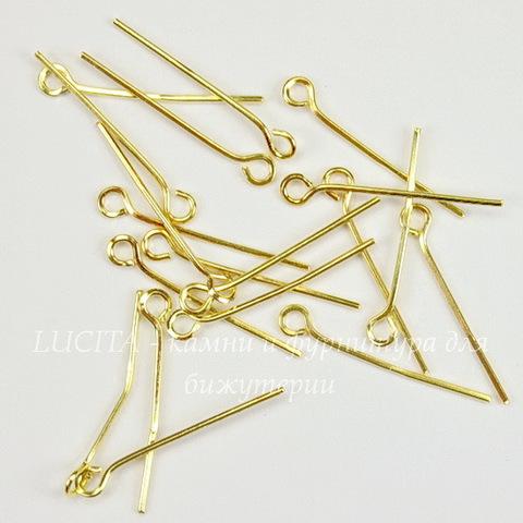 Комплект штифтов с петлей 21х0,7 мм (цвет - золото), 10 гр (примерно 130 шт)