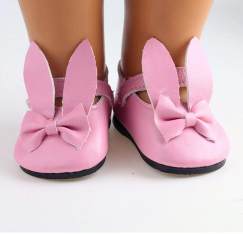 Туфлі з ремінцем  та вушками зайченя для ляльки - рожеві.