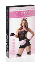 Черно-розовый костюм горничной для взрослых эротических игр