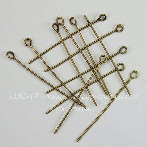 Комплект штифтов с петлей 35х0,7 мм (цвет - античная бронза), 20 гр (примерно 150 шт)