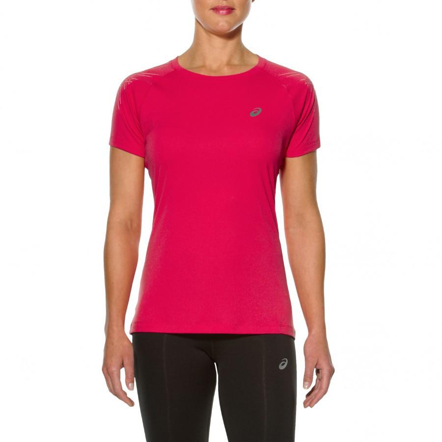 Женская футболка для бега Asics Stripe SS (126232 6016) розовая фото