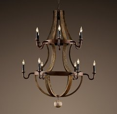 Wine Barrel 2-Tier Chandelier