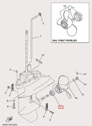 Шайба опорная винта для лодочного мотора F9,9 Sea-PRO (26-11)