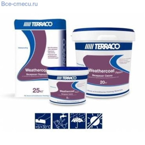 Terraco Weathercoat/Террако Везеркоат двухкомпонентное цементное гидроизоляционное покрытие