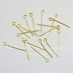 Комплект штифтов с петлей 20х0,7 мм (цвет - золото), 10 гр (примерно 130 шт)