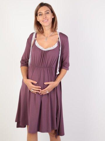 Евромама. Комплект для беременных и кормящих с коротким рукавом и кружевом вискоза большие размеры, сливовый