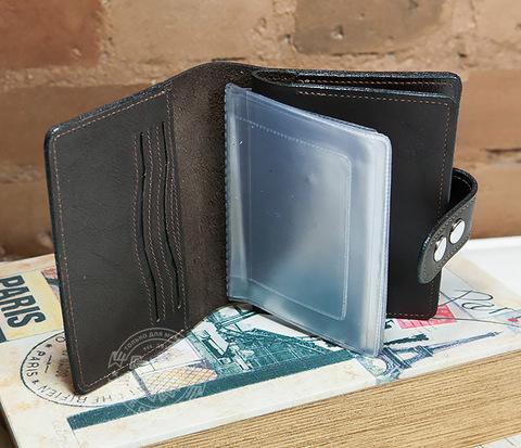 Мужское портмоне ручной работы с отделением для паспорта и документов