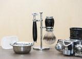 Бритвенный набор MUEHLE PURIST, черная смола, барсучий ворс высшей категории Silvertip, Т-образная бритва (S 091 K 56 SR)