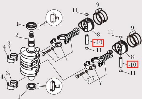 Палец поршневой Φ10xΦ14x44 для лодочного мотора F9.8 Sea-PRO (10-10)