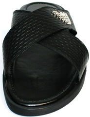 Шлепанцы мужские кожаные Giorgio Armani 101 01Black.