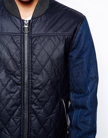 Куртка-пилот с джинсовыми рукавами River Island