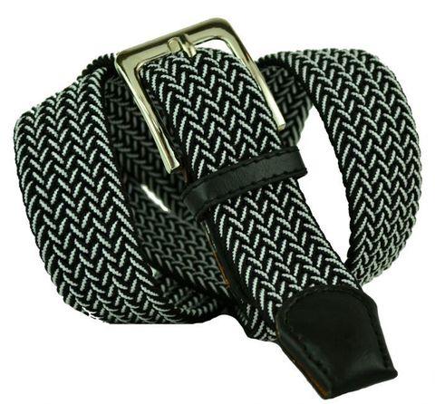 Ремень-резинка мужской текстильный эластичный брючный чёрный с белым (металлик) 35 мм 35Rezinka-115