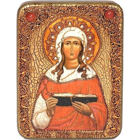 Инкрустированная рукописная икона Святая мученица Валентина Кесарийская 20х15см на натуральном дереве, в подарочной коробке