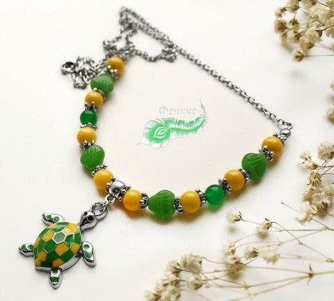 """Бусина """"Ракушка""""  (цвет - зеленый) 9х9 мм , 20 штук (Подвес """"Черепашка"""". Пример)"""