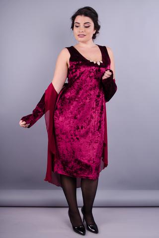 Сапфір. Елегантний костюм двійка плюс сайз для жінок. Бордо.