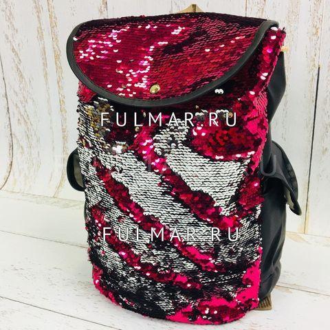Рюкзак-мешок с пайетками фуксия-серебристый меняющий цвет