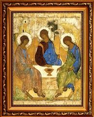 Святая Троица - копия иконы Андрея Рублева на холсте.